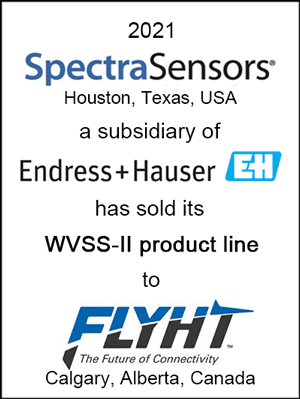 SpectraSensors, a subsidiary of Endress+Hauser, has sold its WVSS-II product line to FLYHT Aerospace Solutions